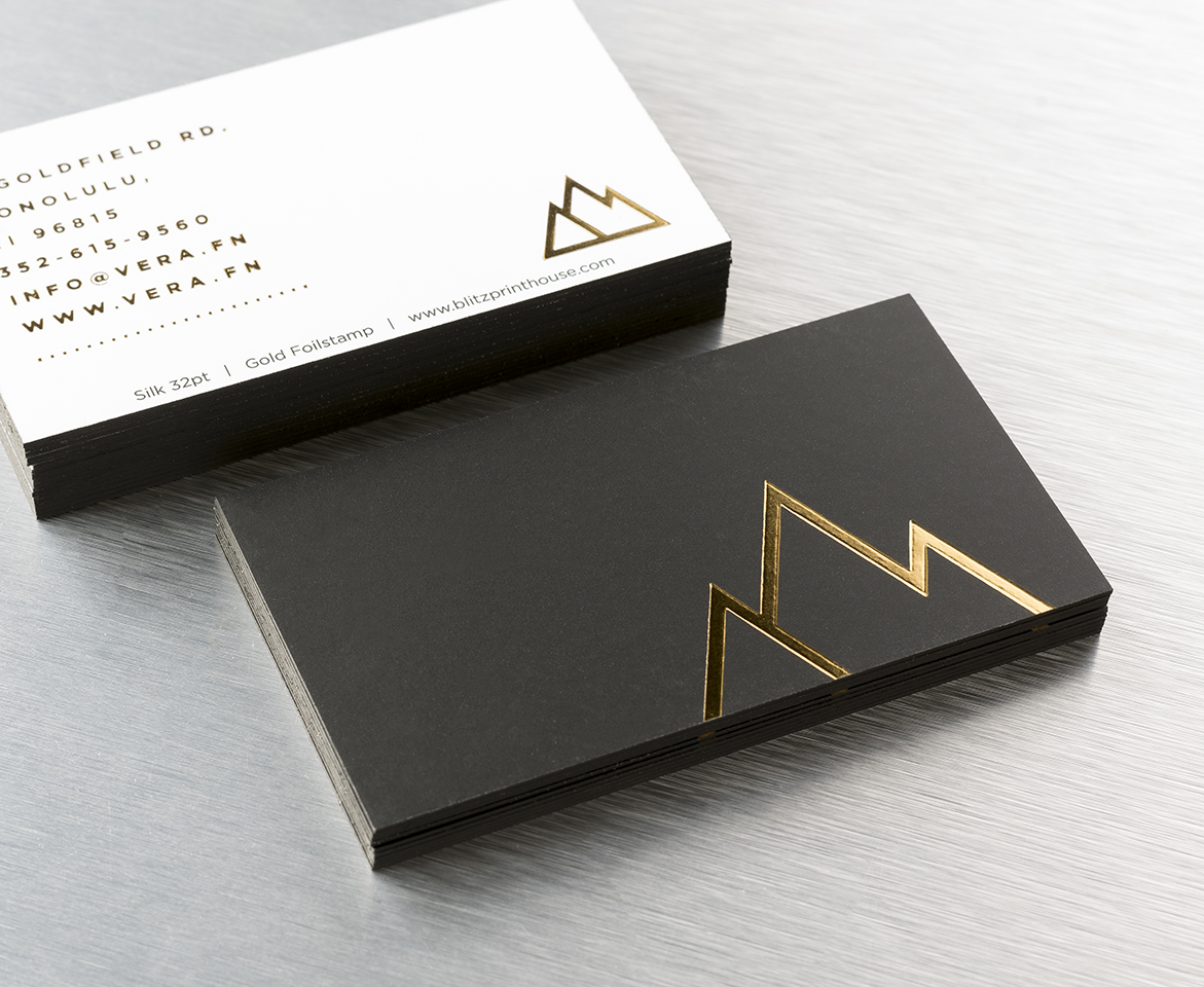 Silk triple thick business cards 32pt blitzprinthouse silk 32pt with gold foil stamp finish and black edge paint colourmoves